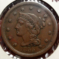 1855 BRAIDED HAIR LARGE CENT, UPRIGHT FIVES,  ORIGINAL  FINE COIN