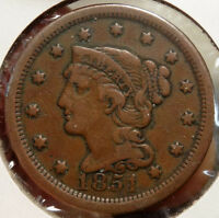 1851 BRAIDED HAIR LARGE CENT,  FINE, ORIGINAL & PROBLEM FREE  1208-17
