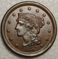 1853 BRAIDED HAIR LARGE CENT, ORIGINAL CHOICE UNCIRCULATED COIN FOR TYPE 1208-25