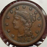 1856 BRAIDED HAIR LARGE CENT, CHOICE  FINE,  ORIGINAL TYPE  0502-03