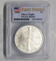 2006 PCGS MINT STATE 69 SILVER EAGLE DOLLAR FIRST STRIKE, 1 OUNCE FINE SILVER $1 COIN