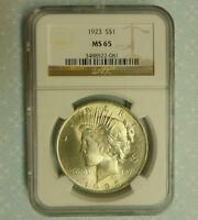 1923 NGC MINT STATE 65 PEACE SILVER DOLLAR, BLAZING LUSTER GEM MINT STATE 65 $1 COIN