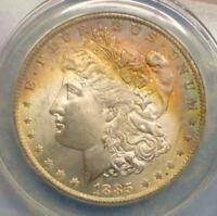 1885 O ANACS MINT STATE 64 MORGAN SILVER DOLLAR,  BLUE & AMBER COLOR TONE, MINT STATE 64 $1