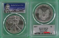 2017 1OZ SILVER EAGLE PCGS MS70 - FIRST STRIKE - VERIFIED BY DAVID HALL