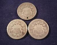 LOT OF 3 SHIELD NICKELS - 1867NO RAYS, 1869 & 18?? HOLE -TAKE A LOOK 146M