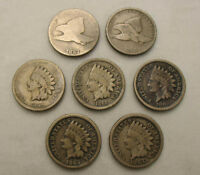 LOT OF 7 DIFF FLYING EAGLE & INDIAN HEAD C/N ONE CENT US TYPE COINS 1857 1864