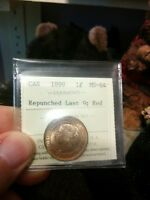 RARE 1899 CENT REPUNCHED LAST 9 ICCS GRADED MS 64 RED. TREND