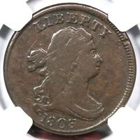 1803 C-2 R-4 NGC F 15 DRAPED BUST HALF CENT COIN 1/2C