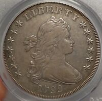 1799 DRAPED BUST SILVER DOLLAR, CHOICE  FINE, PCGS VF-35 CERTIFIED CLASSIC