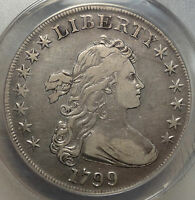 1799 DRAPED BUST SILVER DOLLAR, CHOICE  FIVE, ANACS VF-35 CERTIFIED