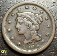 1854 BRAIDED HAIR LARGE CENT --  MAKE US AN OFFER  R2526