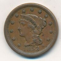 1853 BRAIDED HAIR LARGE CENT-  CIRCULATED LARGE CENT-SHIPS FREE INV:3