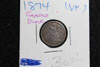 1874 10C ARROWS SEATED LIBERTY DIME SHARP DETAIL  FINE RANGE SOLID COIN