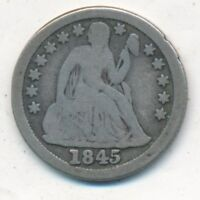 1845 SEATED LIBERTY SILVER DIME- CIRCULATED SILVER DIME-SHIPS FREE