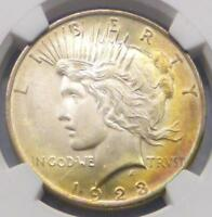 1923 NGC MINT STATE 63 PEACE SILVER DOLLAR, MINT STATE 63 SILVER $1,  2-SIDED COLOR TONE