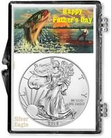 FATHERS DAY FISHING SCENE, AMERICAN SILVER EAGLE GIFT DISPLAY, 2018