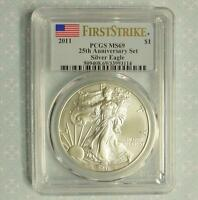 2011 PCGS MINT STATE 69 FIRST STRIKE SILVER EAGLE FROM 25TH ANNIVERSARY SET, 1OZ SILVER