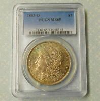 1883 O PCGS MINT STATE 65 SILVER MORGAN DOLLAR, OBV BLUE & RUSSET COLOR TONE, MINT STATE 65 $1