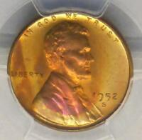 1952 S PCGS MINT STATE 66 RED LINCOLN WHEAT CENT, GEM MINT STATE 66 RD COIN, NEAT COLOR TONE