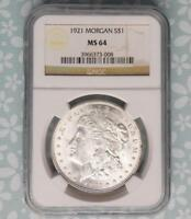 1921 NGC MINT STATE 64 MORGAN SILVER DOLLAR, MINT STATE 64 SILVER $1 COIN,  MINT LUSTER