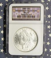 1887 NGC MINT STATE 64 SILVER MORGAN $1, FITZGERALD NEVADA CLUB RENO HOARD DOLLAR COIN