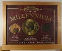 MILLENNIUM COIN COLLECTION 3 COIN SET FROM YEAR 0 LEPTON 1000 CHOLA 2000 $5 AU