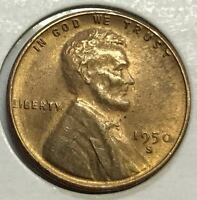 1950-S  GEM BU  LINCOLN CENT   HIGH GRADE COIN  411