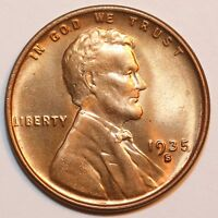 1935-S LINCOLN CENT WHEAT CENT, SOLID GEM BU RED      0027