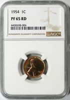 1954 LINCOLN WHEAT CENT 1C NGC PF65 RD