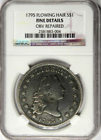 1795 FLOWING HAIR DOLLAR  ORIGINAL 2 LEAVES NGC FINE DETAILS