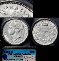 XMAS   10 CENT VARIETY   1881H REPUNCHED BLUNDERED I IN GRATIA   AU50 WOW  A108