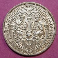 1927A   GERMANY   3 MARK SILVER COIN