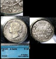 XMAS   5 CENT VARIETY 1872H REPUNCHED H OVER H   CCCS F15  L001A