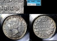XMAS   5 CENT VARIETY 1885 SMALL REPUNCHED 5 OVER 5 TYPE 2    VF30  L009