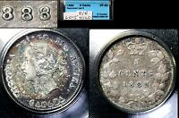 XMAS   5 CENT VARIETY 1888 REPUNCHED 8 HI OVER LO   VF30 LOOKS EF  L015