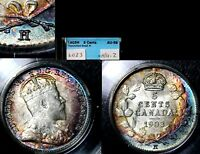 XMAS   5 CENT VARIETY 1903H REPUNCHED H HI OVER LO   AU58   L023