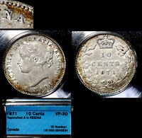 XMAS   10 CENT VARIETY 1871 REPUNCHED A IN REGINA VF30   L040