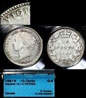 XMAS   10 CENT VARIETY 1881H T OVER I BLUNDERED LEGEND WOW   G6  L043