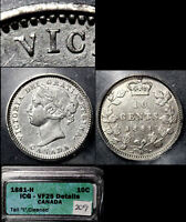 XMAS   10 CENT VARIETY 1881H REPUNCHED I IN VICT TALL I   VF25  L044