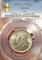 1936 CANADA KING GEORGE 25 CENTS DOT SILVER PCGS MS 62 UNC B