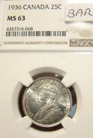 1936 CANADA KING GEORGE 25 CENTS BAR SILVER NGC MS 63 UNC BU