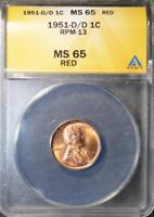 1951-D/D MINT STATE 65 RD LINCOLN CENT  ERROR  COPPER GEM WHEAT CENT SHIPS FREE