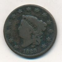1828 CORONET HEAD LARGE CENT- CIRCULATED LARGE CENT-SHIPS FREE