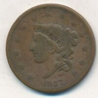 1837 CORONET HEAD LARGE CENT-  CIRCULATED CENT-SHIPS FREE INV:2