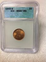 1945-S ICG-MINT STATE 67 RD LINCOLN WHEAT CENT
