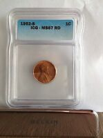 1952-S ICG MINT STATE 67 RD LINCOLN WHEAT CENT GEM