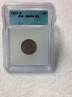 1937-D ICG-MINT STATE 65 RB LINCOLN WHEAT CENT