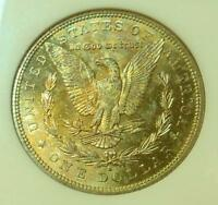 1881 S NGC MINT STATE 65 SILVER MORGAN, GREEN & ORANGE REV COLOR TONE, GEM MINT STATE 65 COIN