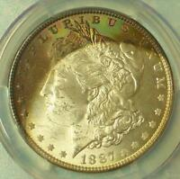 1887 PCGS MINT STATE 63  PLUS MORGAN SILVER DOLLAR CRESCENT COLOR TONE TOUCH BLUE GREEN