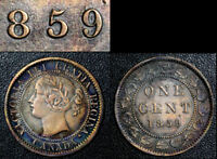 BLACK FRIDAY SALE   CANADA CENT   1859 DOUBLE PUNCHED 5 VF    BF34